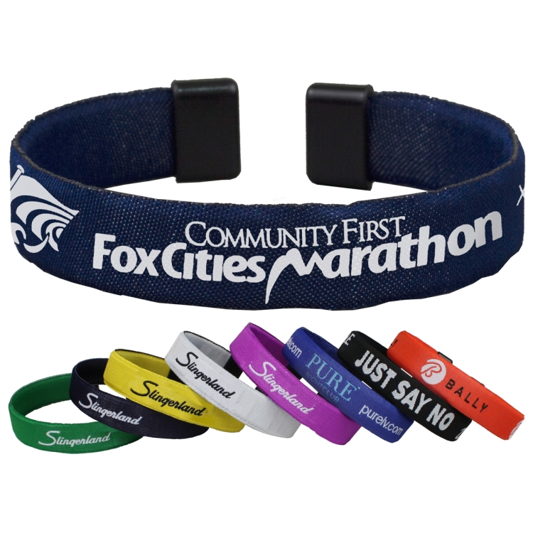 BrandBandTM Bracelet and Wrist Band with Woven-In Logo and copy