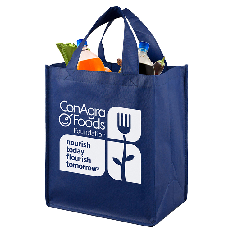 """12"""" W x 14-1/2"""" H - Large Imprint Smooth Front Super Grocery Shopping Tote Bag"""