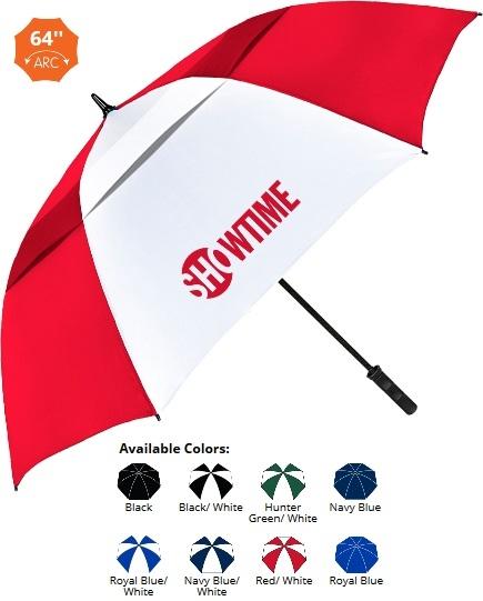 64 Inch Vented Windproof Fiberglass Golf Umbrella SALE - HALF OFF ARTWORK SETUP Until May 31!
