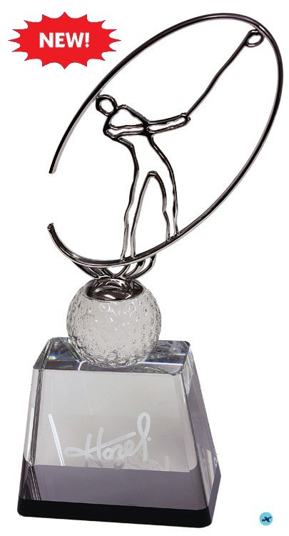 Crystal and Silver Golf Award 11h w/engraving