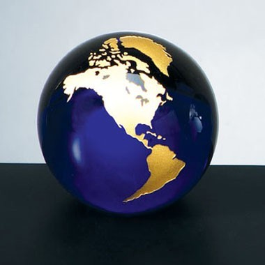 3 Diameter Cobalt Blue Molten Glass World Globe with Silver Continental Paperweight with flat Bot