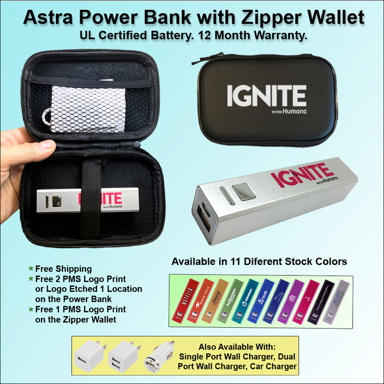 Astra Power Bank Gift Set in Zipper Wallet 1800 mAh