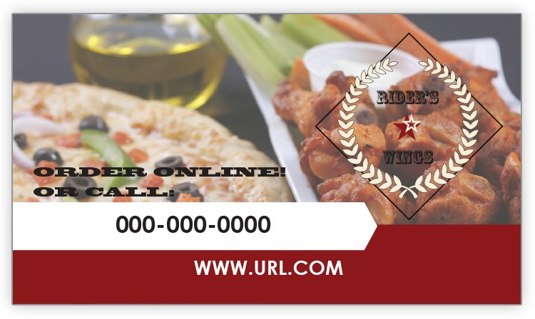 Design Your Own Pizza & Wings Business Card Magnet
