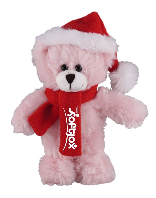 Soft Plush Mocha Teddy Bear with Christmas Hat and Scarf Stuffed Animal