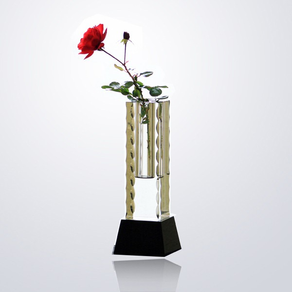 Optical Crystal/Glass Vase on Black Base with Sandblast-Deep Etch Engraving