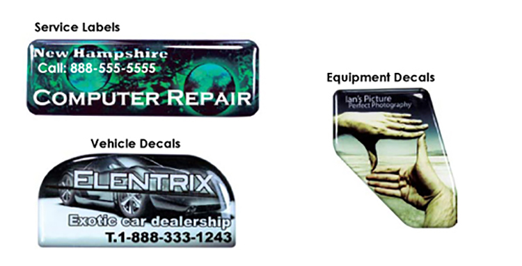 Domed Decals / Stickers with Permanent Adhesive and Up to 1 Sq  In  imprint  area