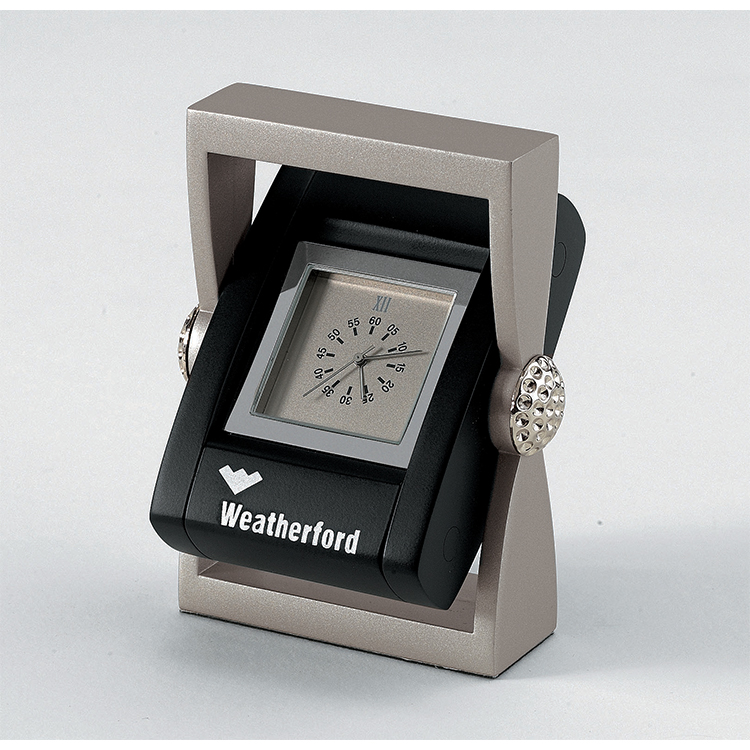 *CLOSEOUT* Black & Silver Clock and Picture Frame with Golf Ball Accents