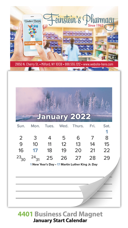 Magna-Cal Business Card Magnet Calendar - Jan. 2018