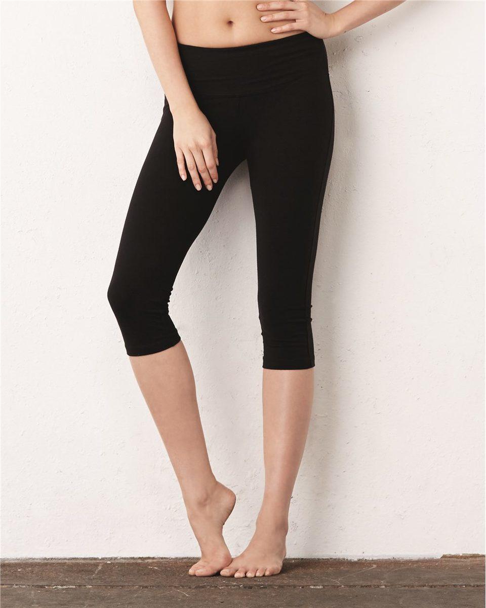 Bella Canvas Womens Cotton Spandex Capri Fit Legging Black Medium