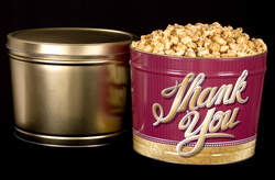 2 Gallon Tin with Popped Popcorn (Caramel)