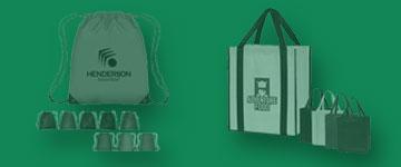 Photo of bags and totes: drawstring backpacks and shopping totes.