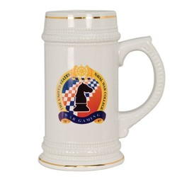 18oz Full Color Ceramic Stein (White w/Gold Accent)