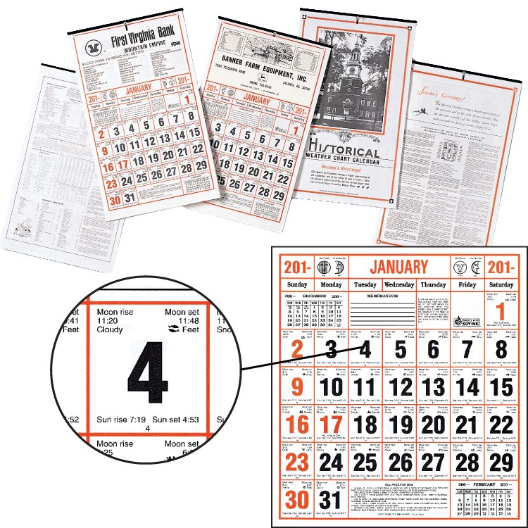 Almanac Calendars - Historical Weather Chart