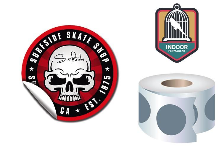Roll Stickers / Decal - Indoor Permanent - 3.0 Diameter Round Shape