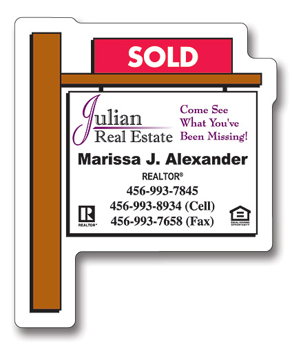 Magnet - Real Estate Sold Sign Shape (2.25x2.75) - 25 Mil.