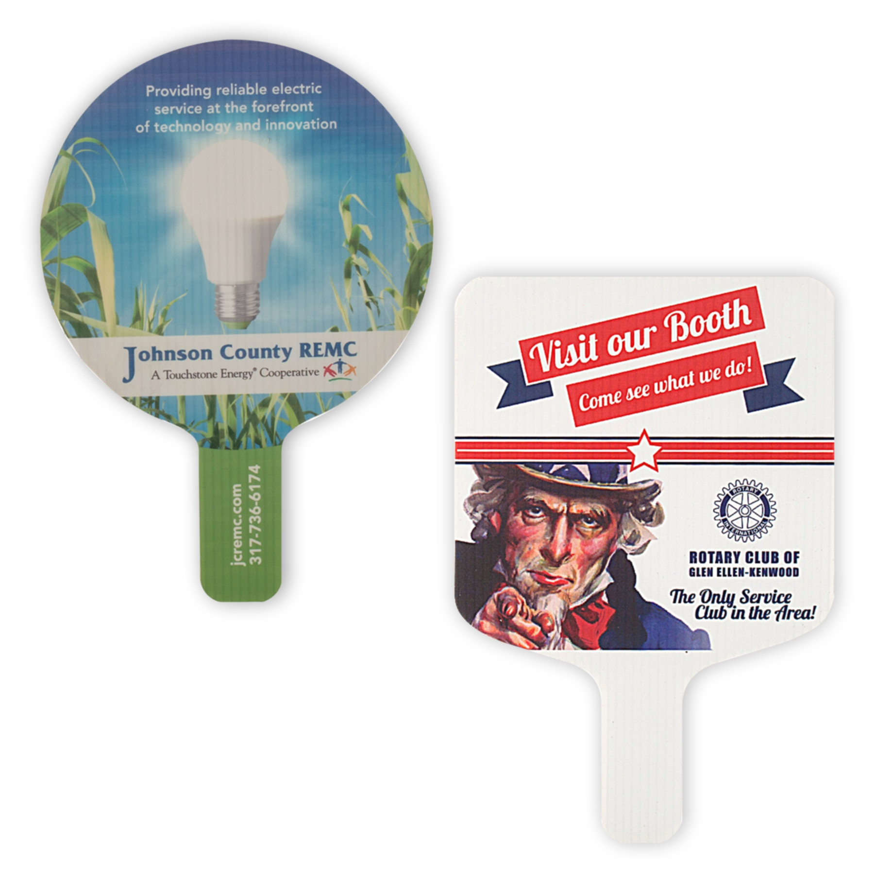 Plastic hand fans with full color printing on one or both sides.