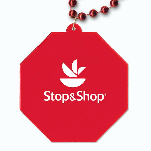 Red Beads with Stop Sign Medallion