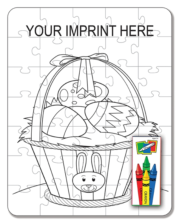 COLORING PUZZLE SET - Easter Basket (35 Piece)