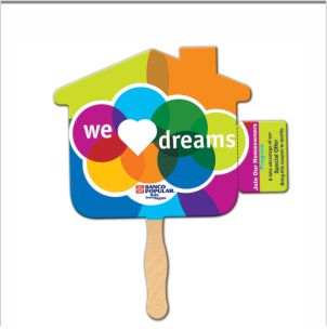 Coupon Hand Fans have a perforated tab that has a variety of uses such as event tickets, coupons and business cards.