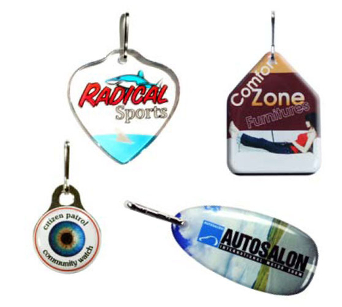 Zipper Pull Charms / Tag with single sided custom shape Up to 1 Sq. In.