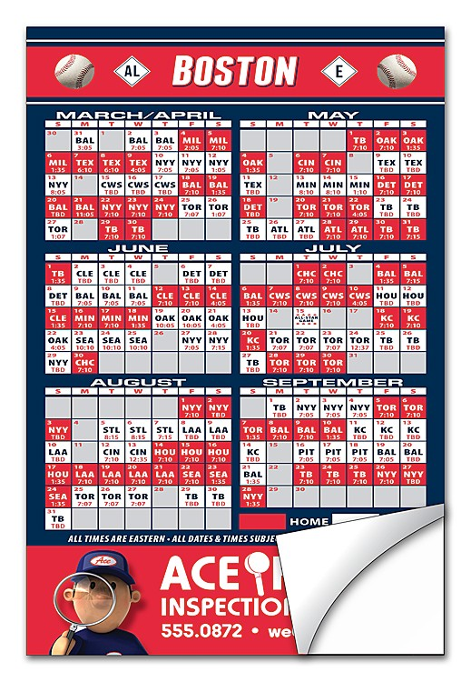Baseball Schedule Sticker / Decal - UV-Coated Vinyl - 4x6 Rectangle Shape